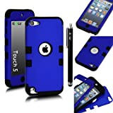 E-LV Two Tone Hard and Soft Hybrid Armor Combo Case for Apple iPod Touch 5 5th Generation with 1 Free Screen Protector, 1 Black Stylus and 1 E-LV Microfiber Digital Cleaner (Dark Blue with Black)
