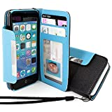 myLife Sky Blue + Ink Black {Modern Design} Faux Leather (Card, Cash and ID Holder + Magnetic Closing + Hand Strap) Slim Wallet for the iPhone 5C Smartphone by Apple (External Textured Synthetic Leather with Magnetic Clip + Internal Secure Snap In Hard Rubberized Bumper Holder)