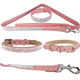 "WwWSuppliers Pink PU Leather Crocodile Rhinestones Bling Dog Puppy Cute Dazzling Sparkling Elegant Fancy Pet Adjustable Collar & Pink Bling Leash Lead Diva Fashion Combo (Extra Small: 7""-10"")"
