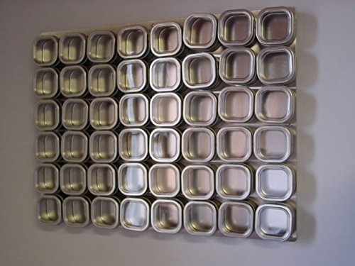 Culinarian II Magnetic SpiceRack 48 Bravada Square Clear Lid Magnetic Spice Tins Wall Base Spice Installed
