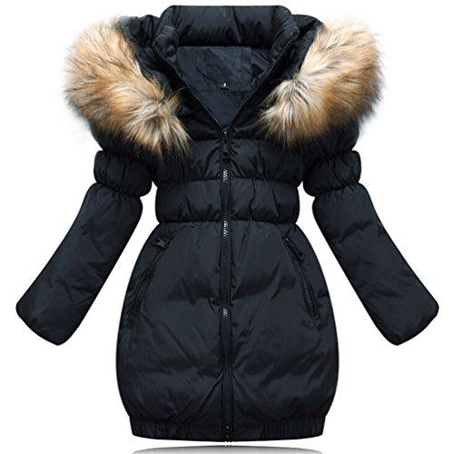 Brinny Daunenjacke Kinder Mädchen Winterjacke Fellkapuze Verdickung Lang Jacket Wintermantel Mantel Trenchcoat Parka Outerwear Oberbekleidung Winter Kunst Pelz