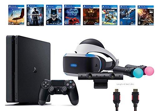 PlayStation VR Start Bundle 10 Items:VR Start Bundle,PS4 Slim- Uncharted 4,7 VR Game Disc Until Dawn:Rush of Blood, EVE:Valkyrie,Battlezone,Batman:Arkham VR, DriveClub,Eagle(Versione USA, importato)