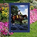 Cowboy Horseback Bluebonnets Field Mini Flag