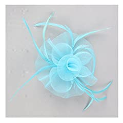 Women Flower Headwear Wedding Party Hair Clip Fascinator Headpiece (Light Blue)