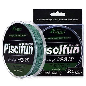 Piscifun PE Braided Fishing Line 150Yd Green 12lb Test