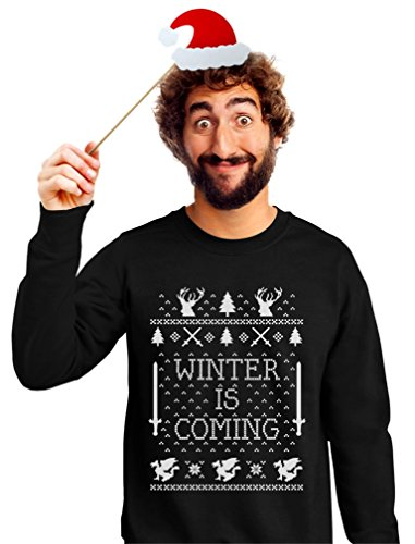 TeeStars Men's - Winter Is Coming Ugly Christmas Sweater Sweatshirt Large Black