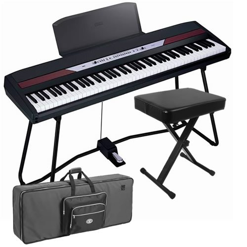Korg SP-250 Digital Piano STAGE BUNDLE w/ Keyboard Case & Bench
