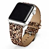 iitee (TM) Christmas Shiny Glitter Power PU Leather Bling Luxury Iwatch Band Wristwatch Bracelet Strap Belt for Apple Watch (gold 42mm)