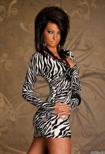Hot and Sexy Langarm Damen Kleid Minikleid im Tiger Design aus feinem Strick mit 20% Kaschmir Anteil Gr. 36/38