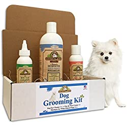 Grooming Kit for Dogs by Makondo Pets-Natural Whitening/Deshedding/Deodorizing Shampoo-Ear Cleaner-Paw & Nose Cream-Antibacterial/Antifungal/Great Dog Lovers Gift-Veterinarian Formulated- White Coat