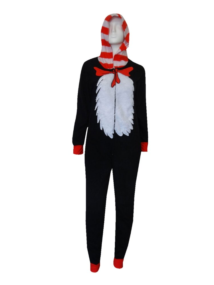 Dr Seuss Womens Black Fleece Cat in the Hat Pajama Hooded Sleeper Unionsuit