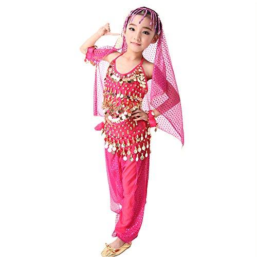 SymbolLife Girls Kinder Mädchen Bauchtanz Kostüm Set Tanzkleid Kinder Tanzkleidung Karneval Kindertag Kostüme Darbietungen Tanzkostüme, Das Obere + Pluderhosen