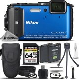 Nikon-COOLPIX-AW130-Waterproof-Digital-Camera-BLUE-64GB-CLASS-10-MEMORY-CARD-Backup-Battery-Card-Reader-Mini-Tripod-Cleaning-Kit-All-Original-Accessories-Included-International-Version