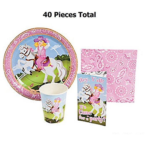 Cowgirl Tableware Set - 40 Pc - Includes Cowgirl Plates, Napkins, Cups and Invitations