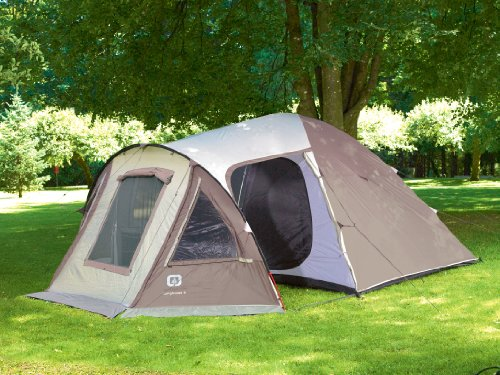 Outbound Longhouse 6 Person Two Room Family Dome Tent (Brown, Large)