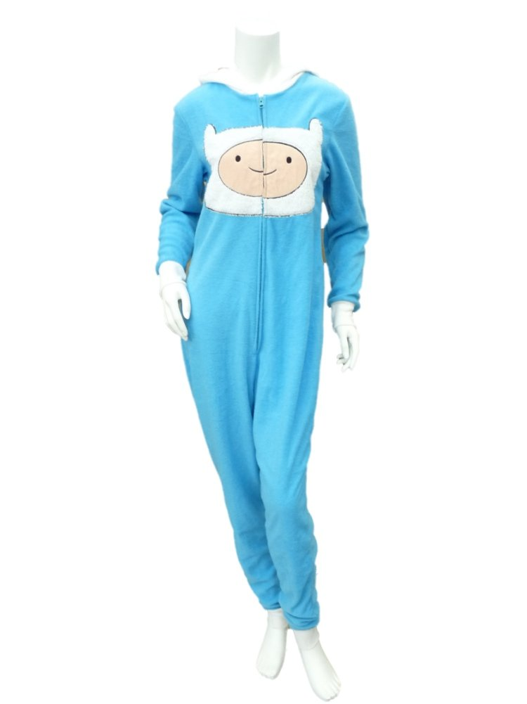 Adventure Time Finn Womens Blue Fleece Hooded Pajama Sleeper Unionsuit