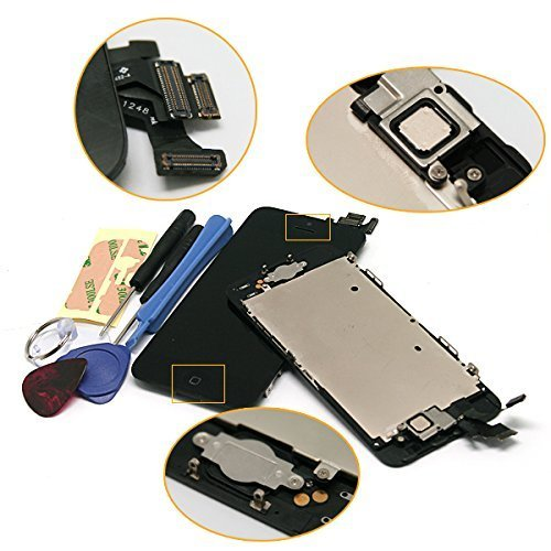 Super LCD Shop iPhone5 フロントパネル カスタムパーツ 液晶パネル LED スクリーン 修理パーツ(ホームボタン +スピーカー +フロントカメラ)(ブラック)