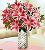 1-800-Flowers - Stunning Pink Oriental Lily Bouquet - with Silver Swirl Vase