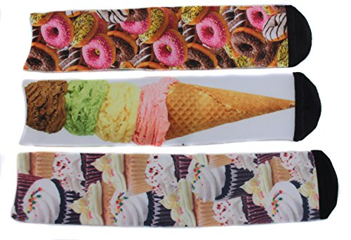 Ladeda Women's Sweet Tooth Crew Socks (3 Pair) Donuts, Cupcakes, Ice Cream