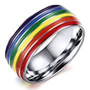 8mm Titanium Stainless Steel Rainbow Gay Lesbian 18k White Gold Wedding Engagement Promise Band LGBT Pride Ring