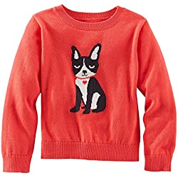 OshKosh B'gosh Little Girl's Terrier Pup Coral Pullover Sweater (2T)