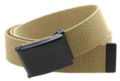 Canvas-Web-Belt-Flip-Top-Black-BuckleTip-Solid-Color-50-Long-15-Wide