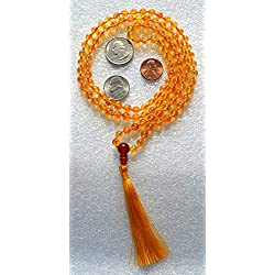 CITRINE 6 MM PRAYER BEADS ROSARY JAPA MALA NECKLACE STRONGEST POSSIBLE HAND KNOTTED IN 100% PURE SILK THREAD 8 PLY. BLESSED & ENERGIZED BEST GRADE GENUINE QUALITY HINDU TIBETAN BUDDHIST KARMA BEADS SUBHA ROSARY MALA FOR VITALITY, NIRVANA, BHAKTI, FOR REMOVING INNER DOSHAS, FOR CHANTING AUM OM, FOR AWAKENING CHAKRAS, KUNDALINI THROUGH YOGA MEDITATION-FREE OM MALA POUCH INCLUDED - USA SELLER