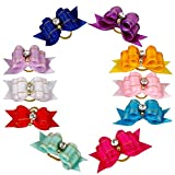Didog® 50 Pcs Mixed Color Rhinestone Bling Pet Cat Dog Hair Rubber Band Bows Grooming Accessories