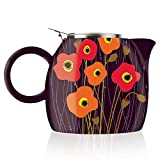 Tea Forte PUGG 24oz Ceramic Teapot with Improved Stainless Tea Infuser, Loose Leaf Tea Steeping For Two, Poppy Fields