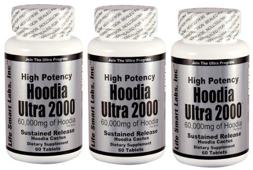 Hoodia Ultra 2000  (3 Bottles) Time Release HIGH POTENCY 180 Pills 3 Months Hoodia diet pills