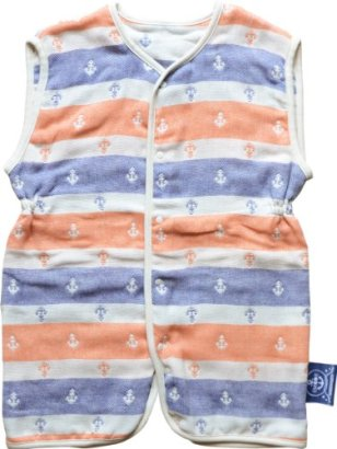 EMOOR-4-Layered-Anchor-Stripe-Gauze-Vest-for-Babies-Orange-White-and-Navy-Made-in-Japan