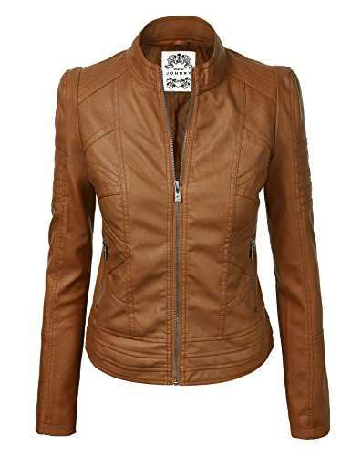 MBJ WJC746 Womens Vegan Leather Motorcycle Jacket S CAMEL