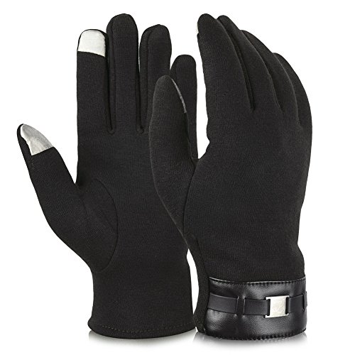 Vbiger Winter Gloves Texting Gloves Touch Screen Mittens Warm Cold Weather Gloves For Men (Black)