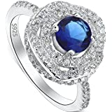 Ever Faith 925 Sterling Silver Royal Inspired Sapphire Color .25ct CZ Engagement Ring