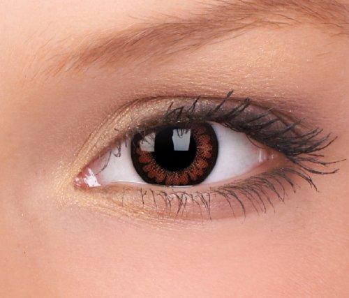 Farbige Kontaktlinsen 3-Monatslinsen & Color Contact lenses Braun / Dunkelbraun / Brown 1 Paar (2 Stück) incl. 60ml Pflegemittel und Behälter!