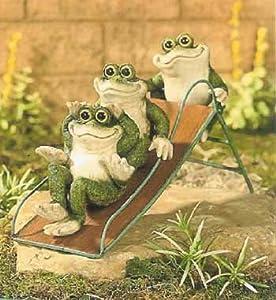 Amazon.com : Frogs on a Slide Yard Decor Garden Statue ... on Backyard Decorations Amazon id=22886