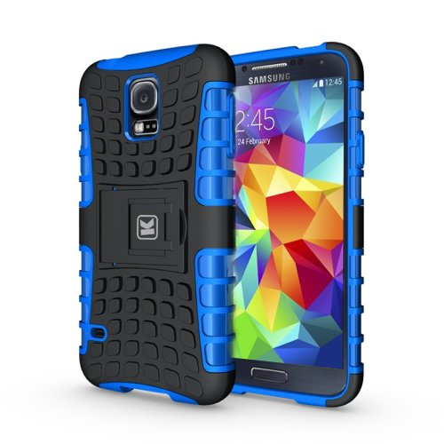 KAYSCASE Heavy Duty Cover Case for Samsung Galaxy S5 SV S V Smart Phone, 2014 Version (Lifetime Warranty)(Blue)