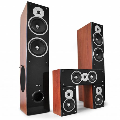 Akai 5-teiliges Heimkino-Lautsprecher Surround Set 850W (Bi-Amping, 3-Wege Front Boxen, 2-Wege Center/Satelliten Boxen)