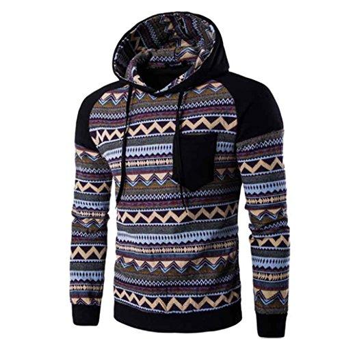 WOCACHI Herren Kapuzenpullover Männer Bohemian Retro Langarm Kapuzenshirt gut aussehend mit Kapuze Sweatshirt Tops Jacken Mantel Outwear
