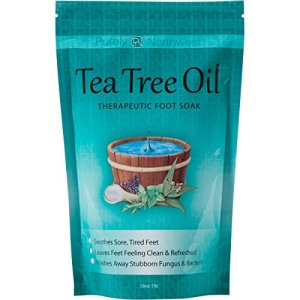 Tea Tree Oil Foot Soak With Epsom Salt, Helps Treat Nail Fungus , Athletes Foot & Stubborn Foot Odor - Combats Bacteria and Softens Calluses, Cracked Feet & Soothes Aches & Pains -16 oz