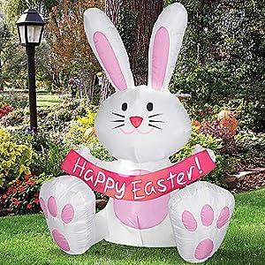 Amazon.com : 4 Foot Happy Easter Bunny Airblown Inflatable ... on Backyard Decorations Amazon id=27322