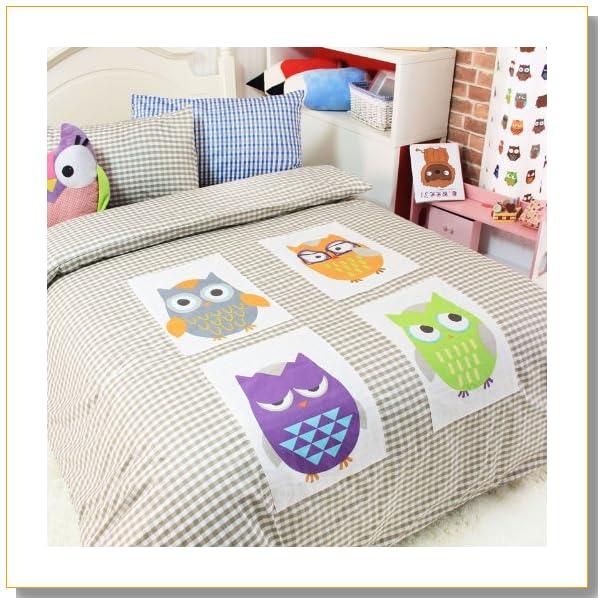 Cliab Home Textile Owl Bedding Boys Bedding Owl Applique Duvet Cover Twin/full/queen Size 100% Cotton 4pcs (Queen)