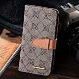 RAYTOP New Version Luxury Classic Beige GG Patterned Leather Wallet Cases Flip Covers for Apple iPhone 5 5s Classy Decent Style Women Girls Men Card Holder Top Rated High Quality Gift Slim Sleek
