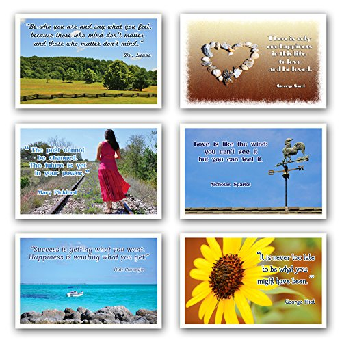 QUOTES postcard set of 15. Post card variety pack with famous quote postcards. Made in USA.