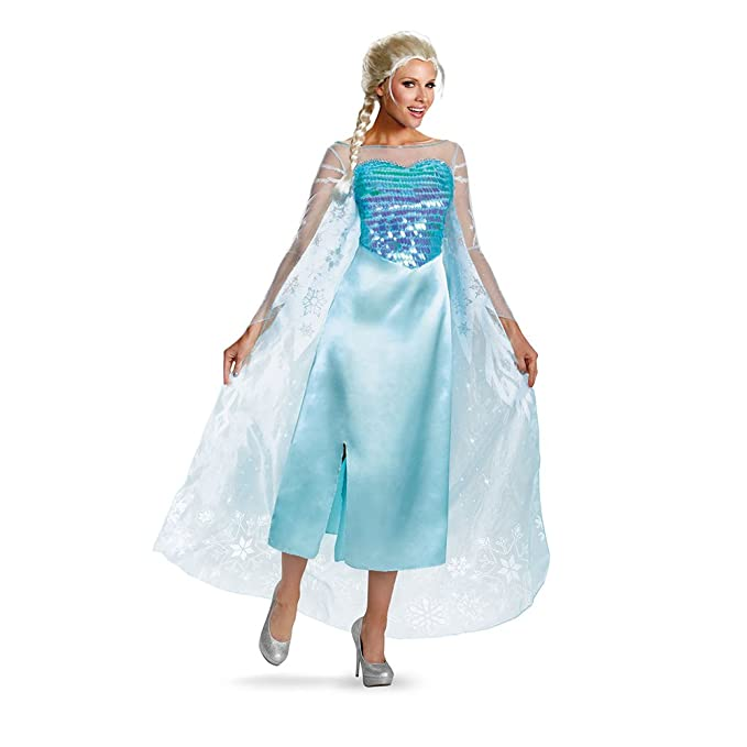 Disguise Women's Disney Frozen Elsa Deluxe Costume, Light Blue, Large/12-14