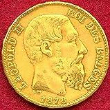 アンティークコイン ベルギー レオポルド2世 20フラン金貨 1878年