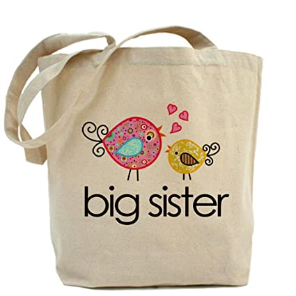 CafePress Whimsy Birds Big Sister Tote Bag - Standard Multi-color