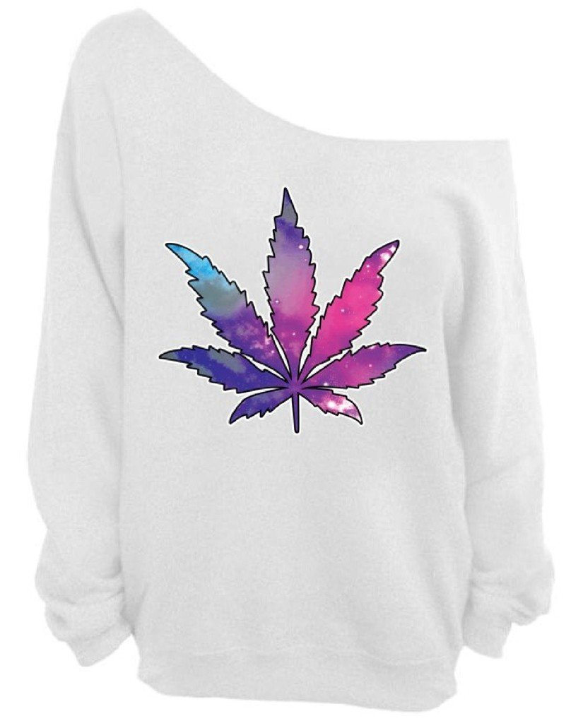 Pot Leaf Off the Shoulder Oversized Sweatshirt Galaxy Cannabis Dope Weed Kush