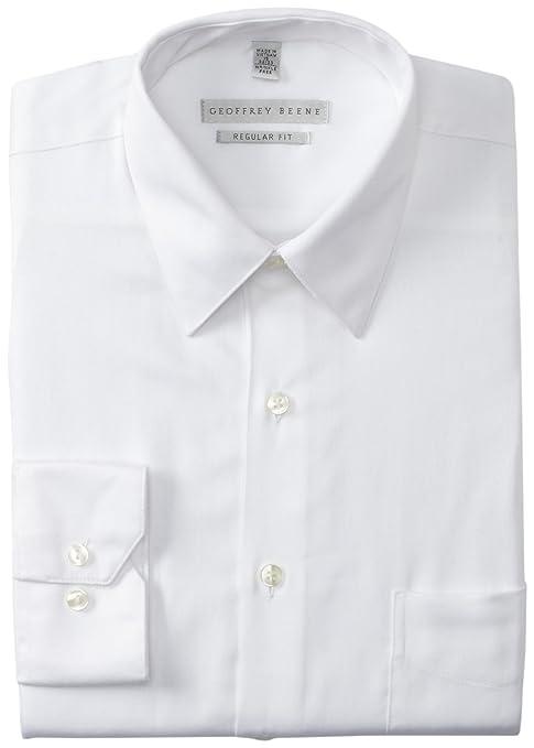 Geoffrey Beene Men's Regular Fit Sateen Dress Shirt, White, 16/32-33