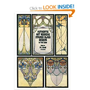 Authentic Art Nouveau Stained Glass Designs in Full Colour (Dover Pictorial Archives)